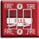 FIRE ALARM PULL DOWN DOUBLE GFCI LIGHT SWITCH WALL PLATE COVER ROOM GARAGE DECOR