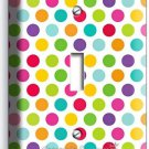 COLORFUL PASTEL POLKA DOT SINGLE LIGHT SWITCH WALL PLATE COVER BABY NURSERY ROOM