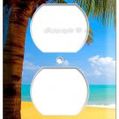 EXOTIC PALM TREE ON A PARADISE SANDY ARUBA BEACH POWER 2 OUTLET WALL PLATE COVER