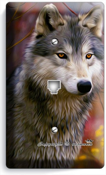 GRAY WOLF WOODS FOREST PHONE JACK TELEPHONE WALL PLATE COVER HOME BEDROOM DECOR