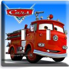 CARS RED FIRE TRUCK DOUBLE LIGHT SWITCH WALL PLATE COVER BOYS ROOM BEDROOM DECOR