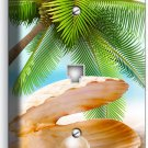 SEE SHELL PEARL PALM BEACH TELEPHONE PHONE JACK WALL PLATE COVER HOME ROOM DECOR