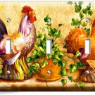 COUNTRY FARM ROOSTER CHICKENS RUSTIC TRIPLE LIGHT SWITCH WALL PLATE COVER DECOR