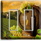 TUSCAN VINEYARD RUSTIC WINE BARREL GRAPES DOUBLE DECOA LIGHT SWITCH PLATE COVER