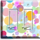 ABSTRACT PASTEL POLKA DOTS DOUBLE GFI LIGHT SWITCH WALL PLATE COVER BABY NURSERY