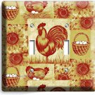 FRENCH FARM ROOSTER HEN CHICKEN EGGS BASKET DOUBLE LIGHT SWITCH WALL PLATE COVER
