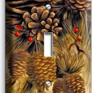 PINE CONES SINGLE LIGHT SWITCH WALL PLATE COVER HOME WOOD CABIN ART RUSTIC DECOR