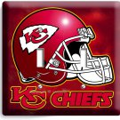 KANSAS CITY CHIEFS FOOTBALL TEAM LOGO DOUBLE LIGHT SWITCH WALL PLATE COVER DECOR