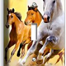 LIPIZZAN STALLION AND BROWN HORSES IN WILD SINGLE LIGHT SWITCH WALL PLATE COVER