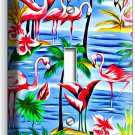 PINK FLAMINGOS PARADISE ISLAND PALM TREES SINGLE LIGHT SWITCH WALL PLATE DECOR