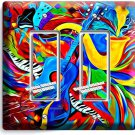 COLORFUL GUITAR SAXOFONE MUSIC ABSTRACT GFI DOUBLE LIGHT SWITCH WALL PLATE COVER