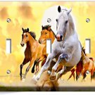 LIPIZZAN STALLION AND BROWN HORSES IN WILD TRIPLE LIGHT SWITCH WALL PLATE COVER