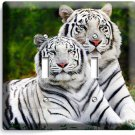 WILD COUPLE WHITE BENGAL TIGERS DOUBLE LIGHT SWITCH WALL PLATE ROOM HOME DECOR