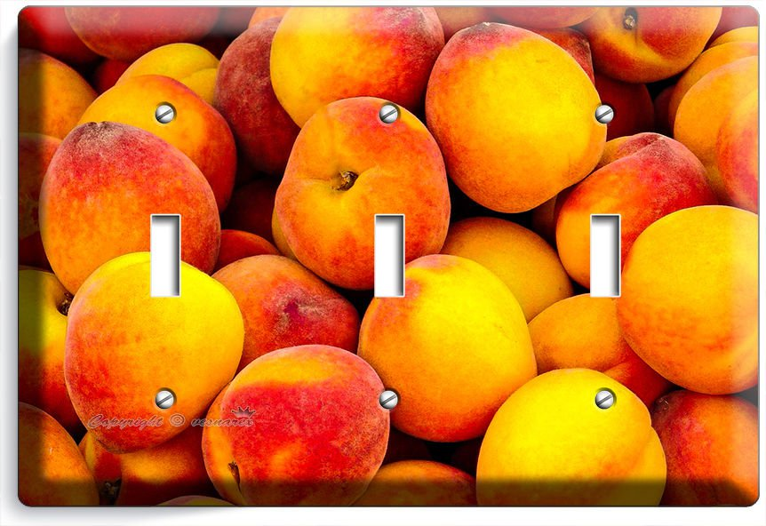 RIPE PEACHES TRIPLE LIGHT SWITCH WALL PLATE DINING ROOM KITCHEN HOME FRUIT DECOR