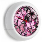 PINK BUTTERFLIES WALL CLOCK GIRLS BEDROOM INFANT BABY NURSERY ROOM HOME NY DECOR