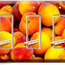 RIPE PEACHES TRIPLE GFCI LIGHT SWITCH WALL PLATE DINING ROOM KITCHEN FRUIT DECOR