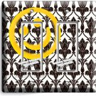 SHERLOCK HOLMES WALLPAPER HAPPY FACE PATTERN DOUBLE GFI LIGHT SWITCH COVER DECOR