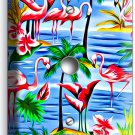 PINK FLAMINGO PARADISE ISLAND PALM TREE LIGHT DIMMER CABLE WALL PLATE ROOM DECOR