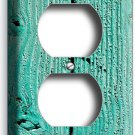 RUSTIC GREEN PAINTED CRACKED WOOD ELECTRICAL OUTLET WALL PLATE COUNTRY CABIN ART