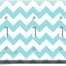CHEVRON LITE BLUE PASTEL LINES TRIPLE LIGHT SWITCH WALL PLATE COVER MODERN DECOR