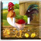 COUNTRY FARM ROOSTER CHICKS RUSTIC BARN DOUBLE LIGHT SWITCH WALL PLATE ART COVER
