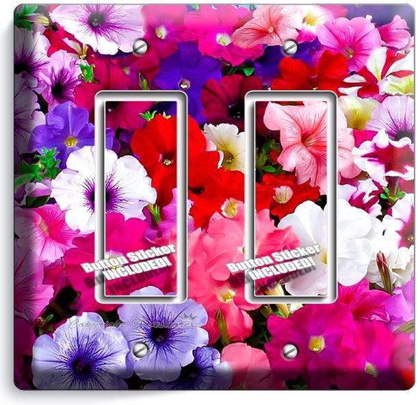 PETUNIA COLORFUL GARDEN FLOWERS VARIETY DOUBLE GFI LIGHT SWITCH WALL PLATE COVER