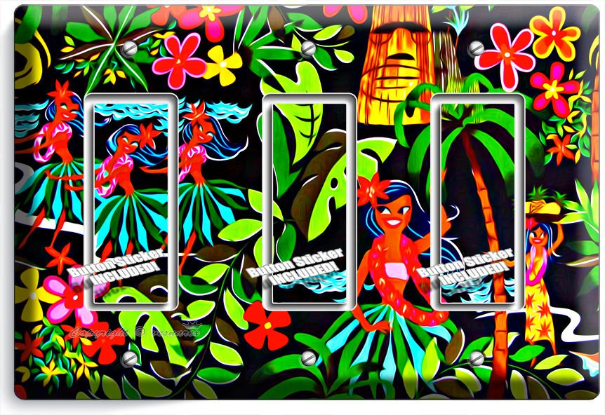 DANCING HAWAIIAN GIRLS FLOWERS PALM TREES TRIPLE GFCI LIGHT SWITCH PLATE DECOR