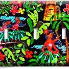 DANCING HAWAIIAN GIRLS FLOWERS PALM TREES TRIPLE LIGHT SWITCH WALL PLATE DECOR