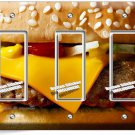 CHEESEBURGER BEEF BURGER TRIPLE GFCI LIGHT SWITCH WALL PLATE COVER KITCHEN DECOR