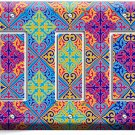 DAMASK ARABIC COLORFUL PATTERN TRIPLE GFCI LIGHT SWITCH WALL PLATE COVER DECOR