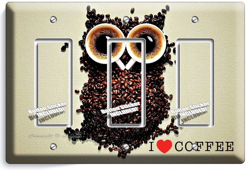 I LOVE HEART COFFEE BEANS OWL TRIPLE GFCI LIGHT SWITCH PLATE COVER HOUSE DECOR