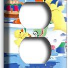 CUTE DUCK TOY BATHING OUTLET RECEPTACLE WALL PLATE COVER 4 LAUNDRY ROOM BATHROOM