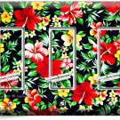 HAWAIIAN HIBISCUS FLOWERS PRINT PATTERN TRIPLE GFI LIGHT SWITCH WALL PLATE DECOR