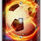 SOCCER BALL FLAME FOOTBALL PHONE TELEPHONE WALL PLATE COVER BOYS ROOM HOME DECOR