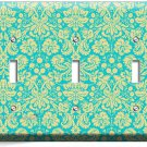DAMASK SOPHISTICATED ORNAMENT PATTERN TRIPLE LIGHT SWITCH WALL PLATE COVER DECOR