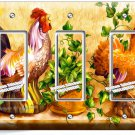COUNTRY FARM ROOSTER HENS RUSTIC TRIPLE GFCI LIGHT SWITCH WALL PLATE COVER DECOR