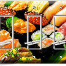 SUSHI ROLLS SASHIMI TRIPLE GFI LIGHT SWITCH WALL PLATE JAPANESE RESTAURANT DECOR