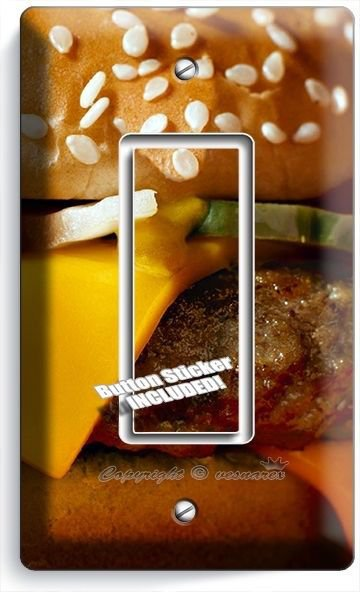 CHEESEBURGER BEEF BURGER SINGLE GFCI LIGHT SWITCH WALL PLATE COVER KITCHEN DECOR