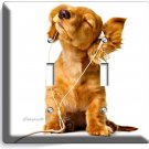 CUTE PUPPY HEADPHONES MUSIC DOG DOUBLE LIGHT SWITCH WALL PLATE COVER  ROOM DECOR