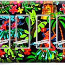 DANCING HAWAIIAN GIRLS FLOWERS PALM TREES QUADRO GFCI LIGHT SWITCH PLATE DECOR
