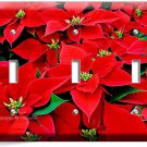 RED POINSETTIA CHRISTMAS FLOWERS TRIPLE LIGHT SWITCH WALL PLATE COVER HOME DECOR