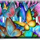 COLORFUL BUTTERFLIES TRIPLE LIGHT SWITCH WALL PLATE BABY ROOM NURSERY ART DECOR
