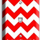 RED CHEVRON ZIG ZAG PATTERN PHONE JACK TELEPHONE WALL PLATE COVER ROOM ART DECOR