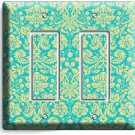 DAMASK SOPHISTICATED ORNAMENT PATTERN DOUBLE GFCI LIGHT SWITCH PLATE COVER DECOR