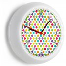 COLORFUL PASTEL RED GREEN BLUE PURPLE POLA DOTS WALL CLOCK BABY NURSERY NY DECOR