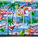 PINK FLAMINGO PARADISE ISLAND PALM TREE TRIPLE GFI LIGHT SWITCH WALL PLATE DECOR