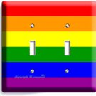 RAINBOW COLORS FLAG DOUBLE LIGHT SWITCH WALL PLATE ROOM DECOR GAY LESBIAN PRIDE