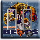 CHICAGO BEARS RUNNING ANGRY FOOTBALL DOUBLE GFCI LIGHT SWITCH WALL PLATE GARAGE