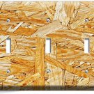 RUSTIC ROUGH PLYWOOD WOOD DESIGN TRIPLE LIGHT SWITCH WALL PLATE KITCHEN ROOM ART