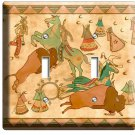 NATIVE AMERICAN INDIAN TIPI BUFFALO DOUBLE LIGHT SWITCH WALLPLATE COVER ROOM ART